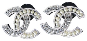 Chanel Chanel Silver Classic Tone Big Cc Logo Crystals Pearls Studs Earrings