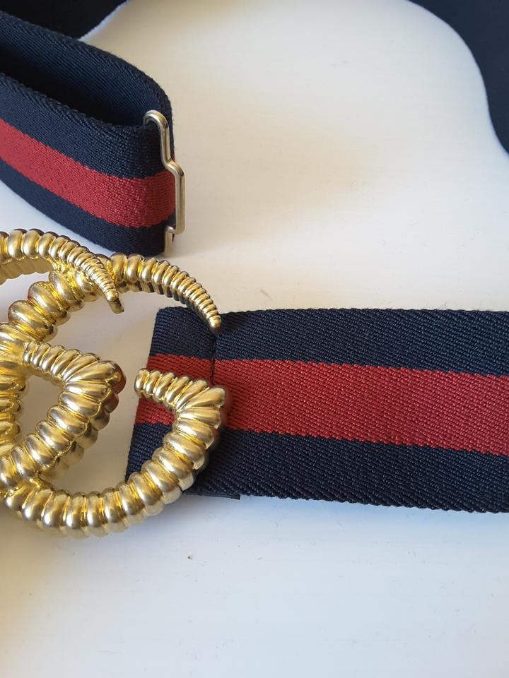 124603bf1 Gucci Web elastic belt with torchon Double G buckle, size 34 in (85cm).  123456789