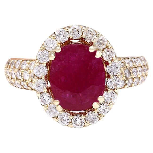 Item - Red 3.98 Carat Natural Ruby 14k Solid Yellow Gold Diamond Ring