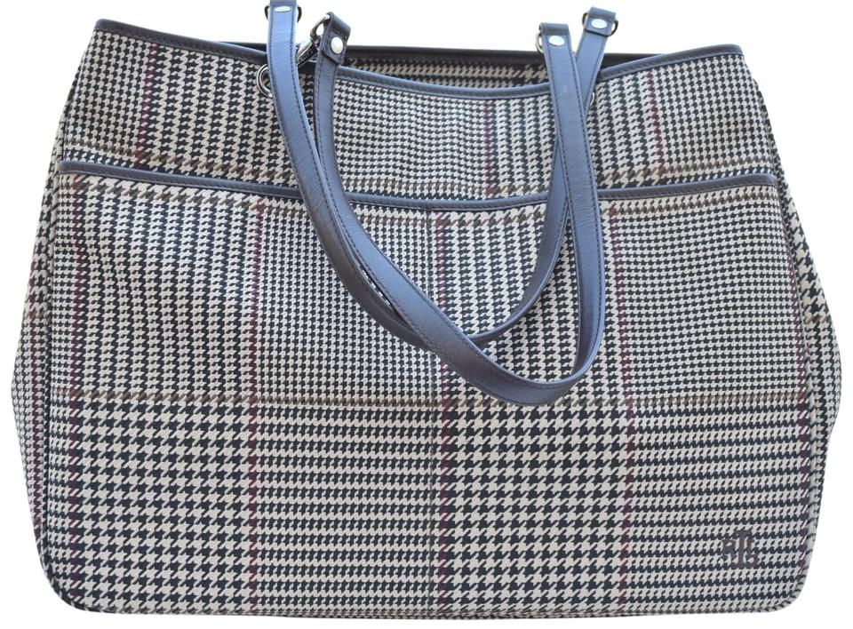 4dacc184e8 Ralph Lauren Houndstooth Brown/Cream Canvas & Leather Tote - Tradesy