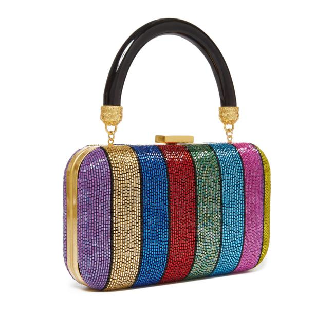 Item - Clutch Shirley Embellished Rainbow Striped Multicolor Bead Baguette