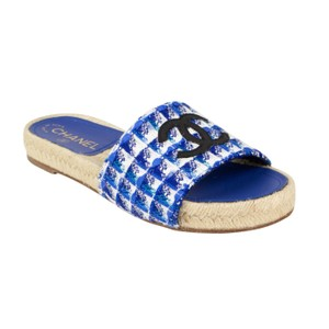 Chanel Tweed Grosgrain Espadrille Slipper Blue Mules