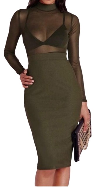 Item - Green/Olive Green Sheer Midi Mid-length Cocktail Dress Size 12 (L)