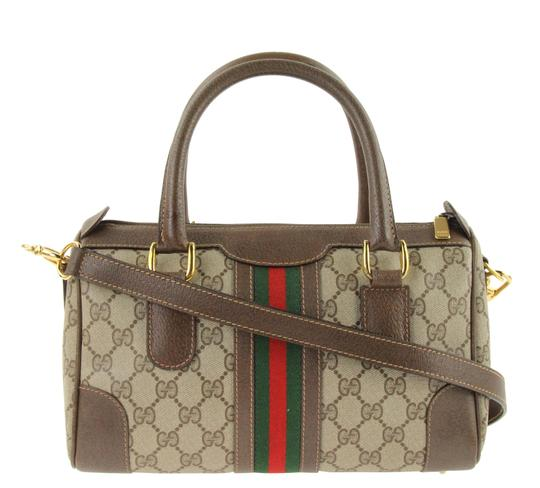 7f9d84ebd8f Gucci Canvas Leather Monogram Satchel in Brown Image 0 ...