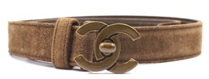 Chanel CC bronze turnlock logo buckle suede leather Belt size 65 26