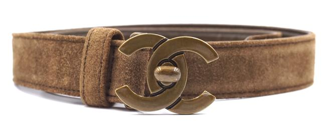 Item - #28632 Brown Olive Cc Bronze Turnlock Logo Buckle Suede Leather Size 65 26 Belt
