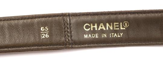 Chanel CC bronze turnlock logo buckle suede leather Belt size 65 26 Image 1