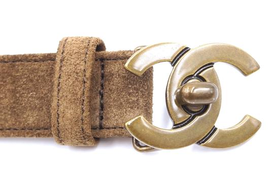 Chanel CC bronze turnlock logo buckle suede leather Belt size 65 26 Image 2