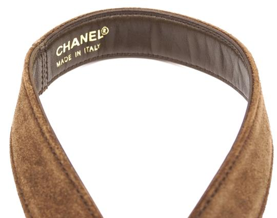 Chanel CC bronze turnlock logo buckle suede leather Belt size 65 26 Image 5