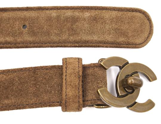 Chanel CC bronze turnlock logo buckle suede leather Belt size 65 26 Image 6