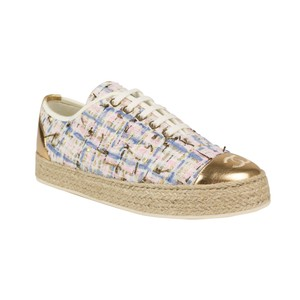 Chanel Tweed Leather Cap Toe Logo Multi-Color Athletic