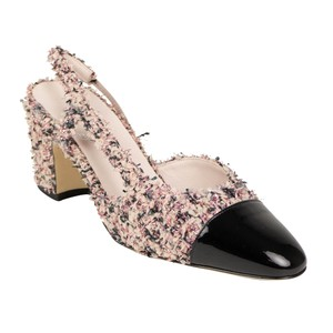 Chanel Tweed Patent Leather Slingback Round Toe Pink Pumps