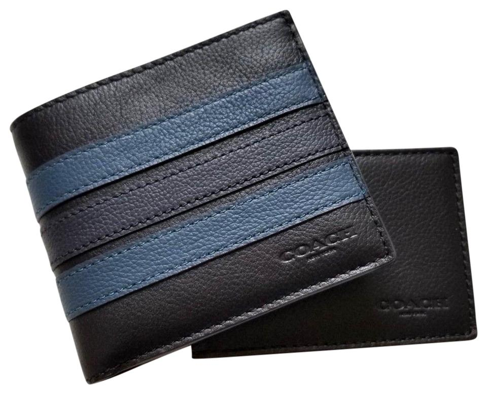 536468f664 Coach Navy Black New Men Colorblock Blue Striped Leather Id Case Holder  Wallet
