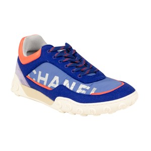 Chanel Wool Nylon Leather Logo Sneaker Blue And Coral Athletic