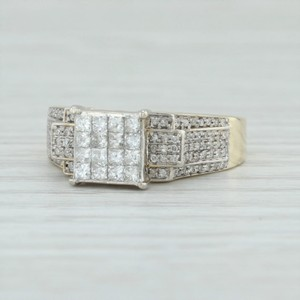 Yellow & White Gold .77ctw Diamond Cluster 10k Size 8 Tiered 2-toned Engagement Ring