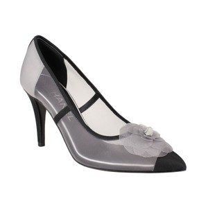 Chanel Mesh Flower Pointed Toe Gray Pumps