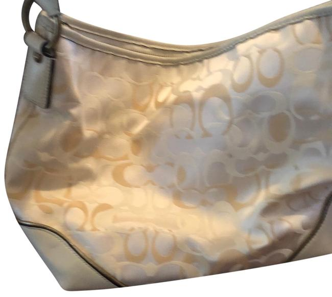 Item - Leather Handle Cream and Gold Fabric with Hardware Hobo Bag