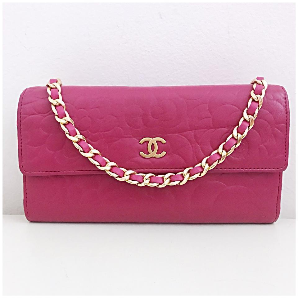 e0e8a1c8054c Chanel Wallet on Chain Classic Flap Pink Leather Cross Body Bag ...