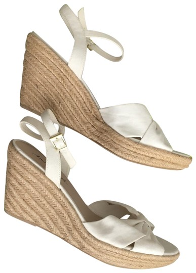 White Fabric Bow Espadrilles Wedges