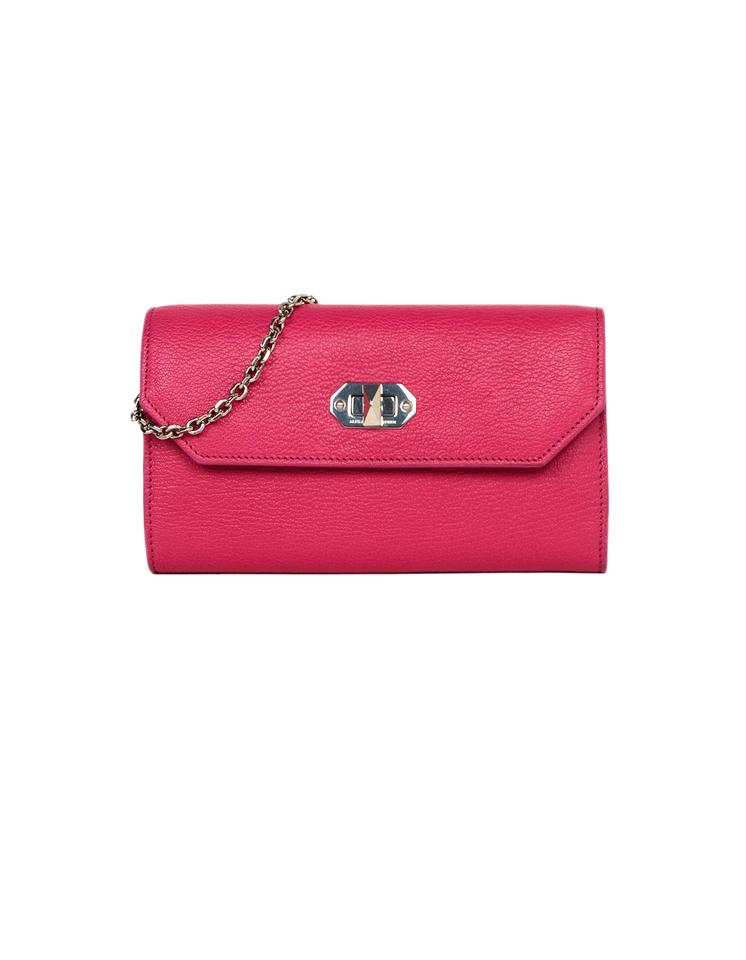 7bf20619f637 Alexander McQueen Pebbled Wallet On A Chain Pink Leather Cross Body Bag
