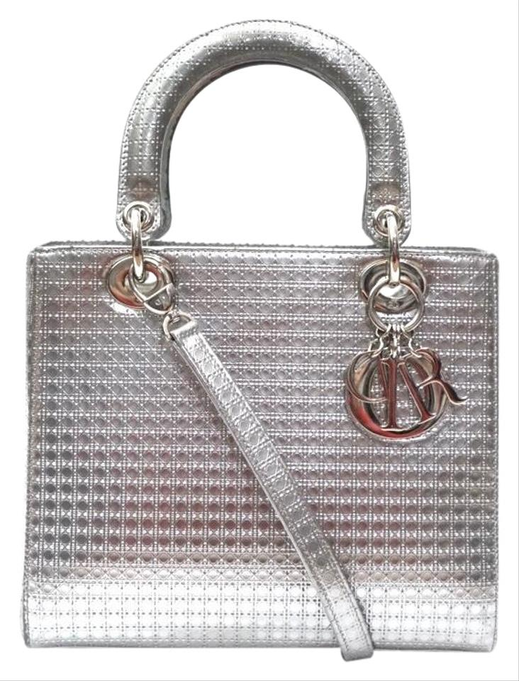 f4a6be400 Dior Lady Micro Cannage Perforated Metallic Tote Silver Calfskin Leather  Satchel