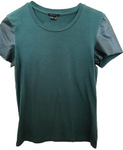 Theory Faux Leather Work Casual Minimalistic T Shirt Green
