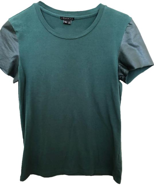 Preload https://img-static.tradesy.com/item/25132774/theory-green-faux-leather-sleeve-tee-shirt-size-4-s-0-1-650-650.jpg