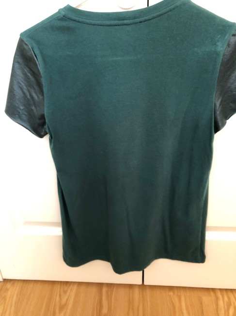 Theory Faux Leather Work Casual Minimalistic T Shirt Green Image 1