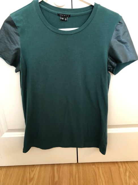Theory Faux Leather Work Casual Minimalistic T Shirt Green Image 2