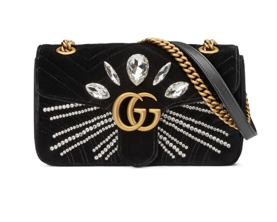 7c2e281d66f Gucci Marmont Gg Crystal Embellished Velvet Crossbody Shoulder Bag ...