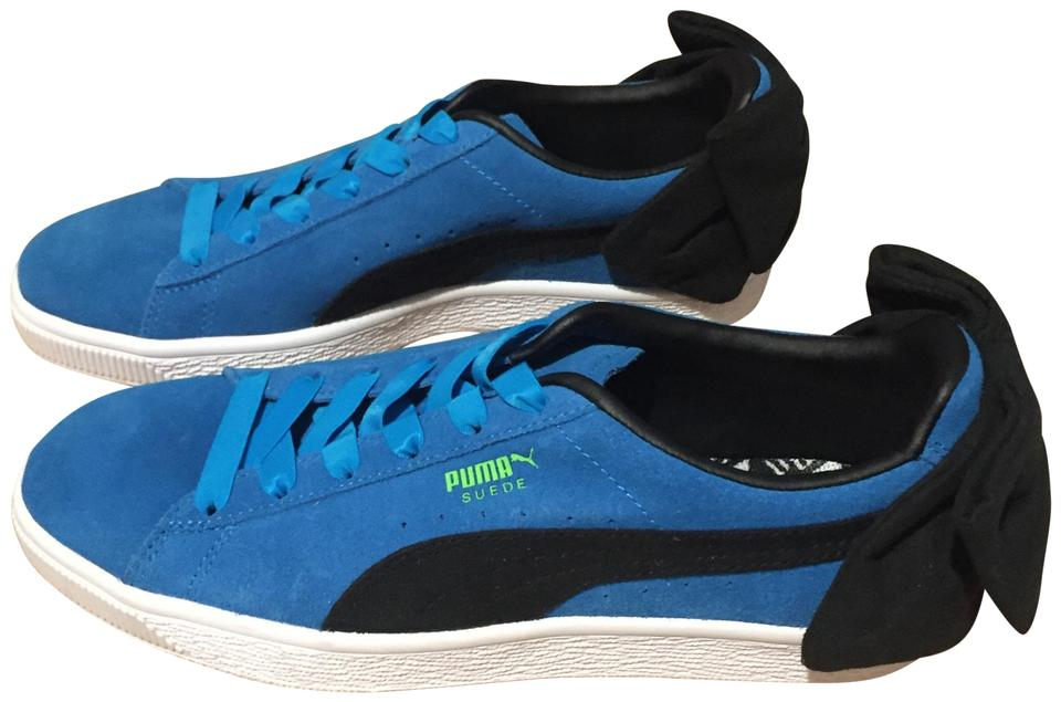 check out 05f46 b2d22 Blue Suede Bow Sneakers