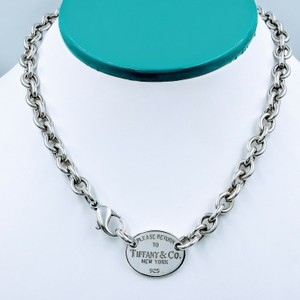 Tiffany & Co. Please Return Oval Tag Choker Necklace Sterling Silver