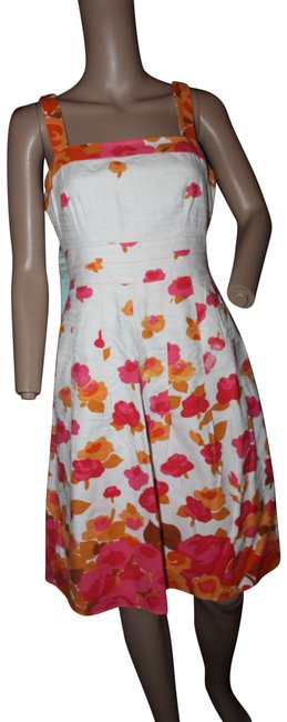 Item - Bright Orange and Pink Off White Summer Floral Linen Euc Short Cocktail Dress Size 6 (S)