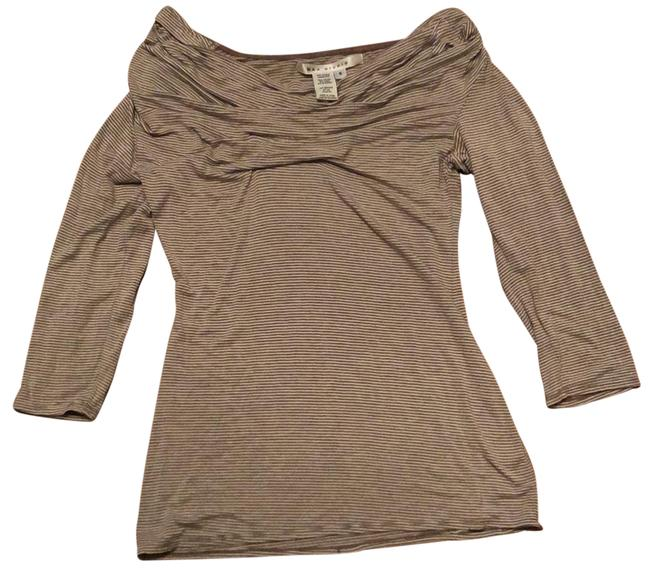 Item - Brown and White Stretch Off The Shoulder Tunic Size 6 (S)