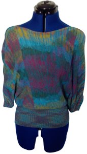Forever 21 Bat Sleeves Knit Boat Neck Top Multi-Color, Aqua, Teal, Yellow, Pink