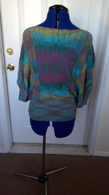 Forever 21 Bat Sleeves Knit Boat Neck Top Multi-Color, Aqua, Teal, Yellow, Pink Image 2