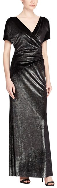 Item - Gray Silver Metallic Velvet Gown Long Formal Dress Size 4 (S)