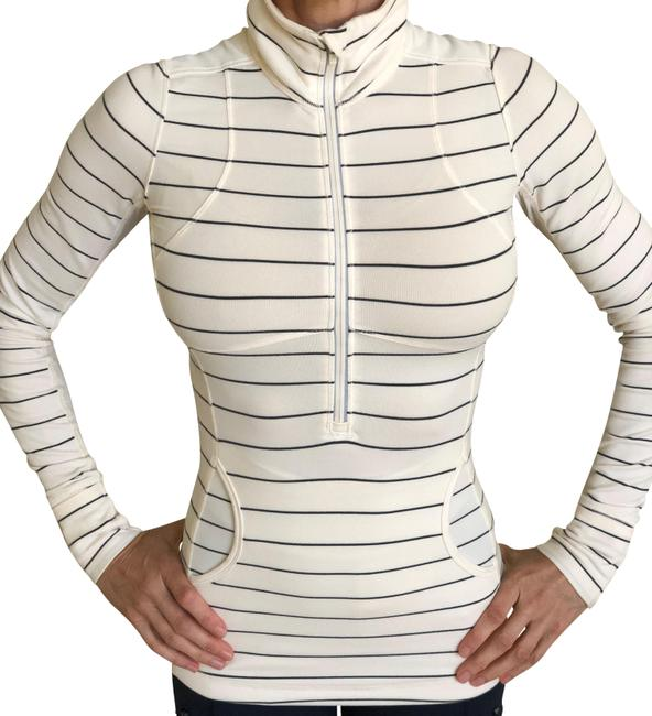 Item - Cream/Light Gray Stripes Athletica Activewear Top Size 4 (S)