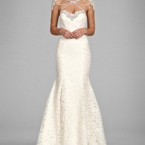 866616c2f5 Hayley Paige White Lace Hp Kadence Feminine Wedding Dress Size 14 (L)