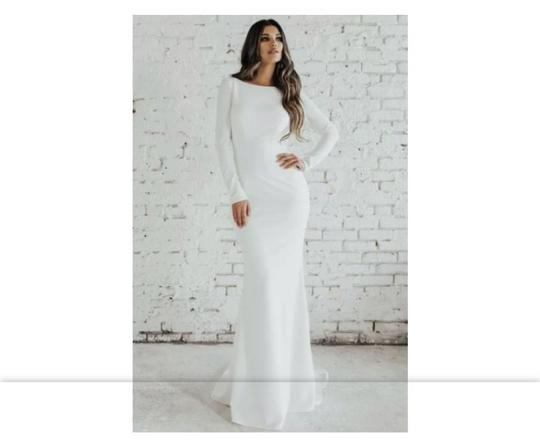 Katie May Ivory Crepe XL Jean and Noel Wasson Cowl Back Gown Street Label Modern Wedding Dress Size 16 (XL, Plus 0x) Image 1