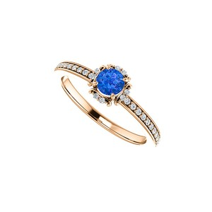 Marco B Sapphire and Diamond Engagement Ring in 14K Rose Gold