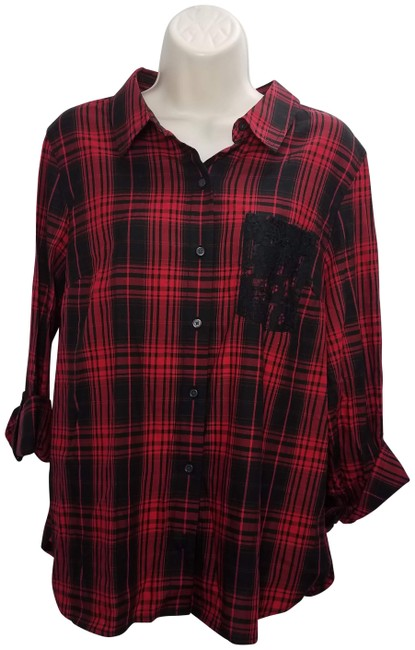 Item - Red Plaid Shirt Laced Button-down Top Size 16 (XL, Plus 0x)