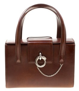 Cartier Patent Leather Suede Satchel in Brown