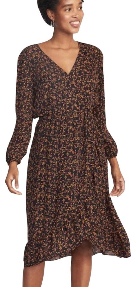 10c122676c2 Old Navy Black Faux Wrap Floral Mid-length Casual Maxi Dress Size 8 ...