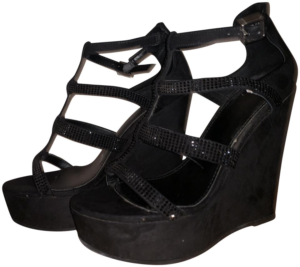 official site size 40 exclusive shoes ALDO Black Suede With Crystals Wedges Size US 6.5 Regular (M, B)