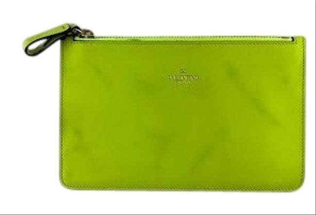 Item - Small Zip Pouch Day Glow Yellow Leather Clutch