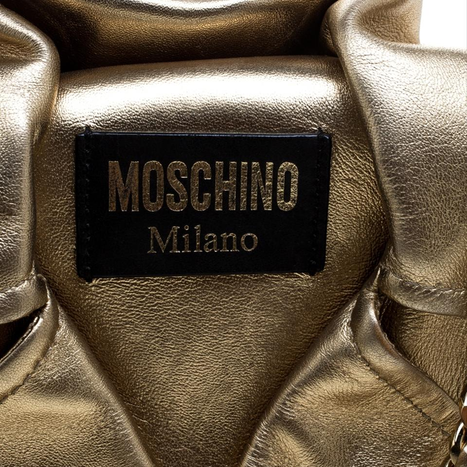 bfd36a68b3 Moschino Large Capsule Biker Jacket Gold Leather Shoulder Bag - Tradesy