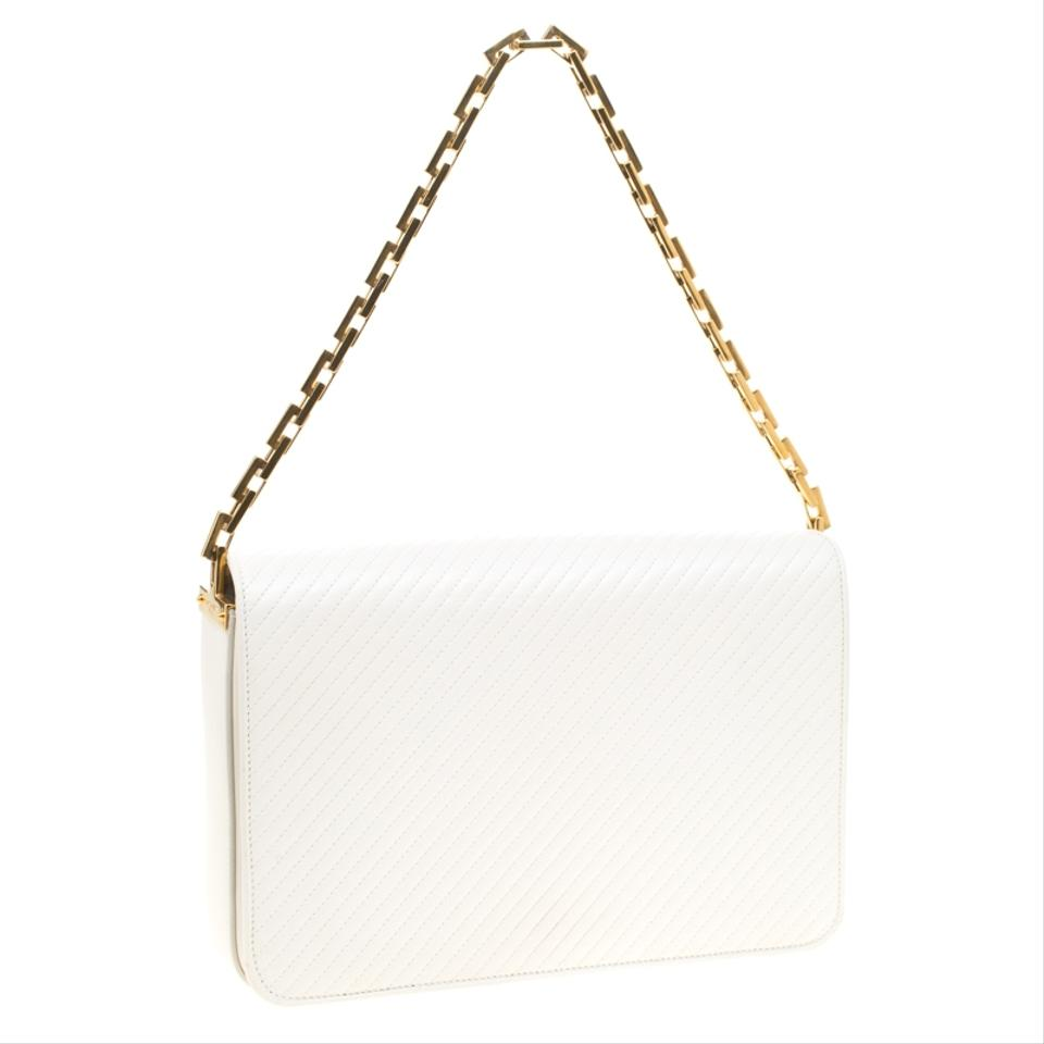 54fdfdb6df Saint Laurent Babylone Chain Paris Chevron White Leather Shoulder Bag 49%  off retail