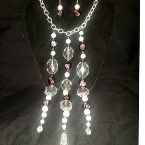 White/Violet/Transparent/Silver 3 Teir Pearl Purple Prom Party Jewelry Set