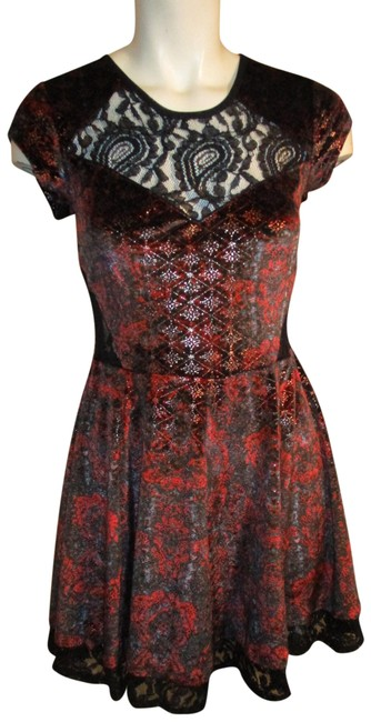 Item - Black & Red Stretchy Velour Short Night Out Dress Size 4 (S)